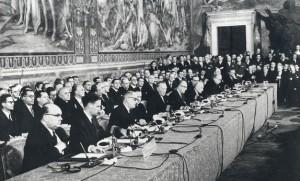 Signing ceremony for the Treaty of Rome, March 1957
